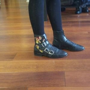 Floral embroidered black leather buckle booties